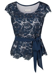 Jacques Vert Petite Lace Belted Top Dark Blue
