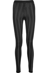 Balmain Striped Stretch Knit Leggings Black