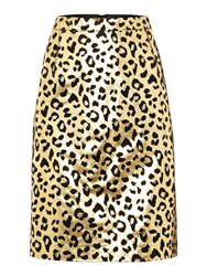 Biba Gold Real Suede Printed Skirt Gold