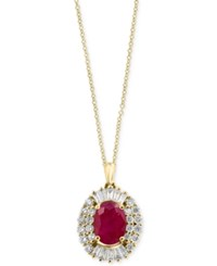 Effy Amore By Certified Ruby 1 3 8 Ct. T.W. And Diamond 1 2 Ct. T.W. Pendant Necklace In 14K Gold Yellow Gold