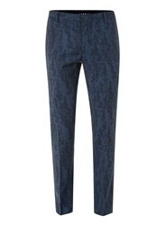 Topman Blue Wool Blend Abstract Print Skinny Fit Suit Trousers