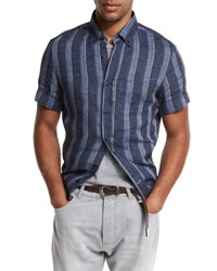 Brunello Cucinelli Striped Short Sleeve Leisure Sport Shirt Navy