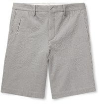 Ermenegildo Zegna Striped Stretch Cotton Seersucker Shorts White