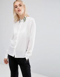 Fashion Union Long Sleeve Shirt With Embroidered Collar White