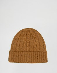 Asos Cable Fisherman Beanie In Mustard Nep Mustard Yellow