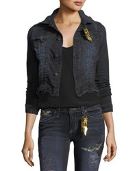 Robin's Jeans Button Front Cropped Washed Denim Jacket Black