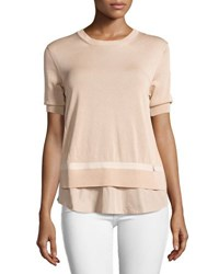 Moncler Short Sleeve Knit Underlay Top Blush