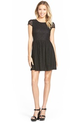 Everly Cap Sleeve Lace Skater Dress Black