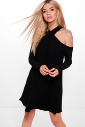 Boohoo Twist Halter Neck Soft Rib Swing Dress Black