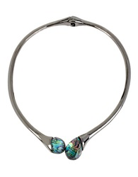 Robert Lee Morris Soho Abalone Shell Collar Necklace Silver