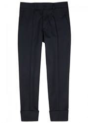 Christian Dior Homme Midnight Blue Twill Cropped Trousers Navy