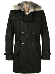 Sealup Fox Fur Hooded Coat Black