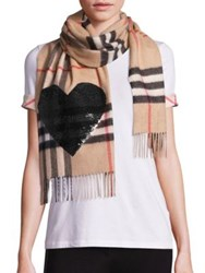 Burberry Sequin Heart Giant Check Cashmere Scarf Camel