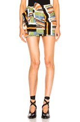N 21 No. Mini Skirt In Abstract Green Orange Abstract Green Orange
