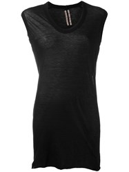 Rick Owens Elongated Sheer Tank Top Black