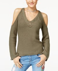 American Rag Juniors' Cold Shoulder Sweater Created For Macy's Olive