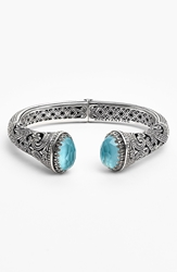 Konstantino 'Aegean' Hinged Cuff Silver Turquoise