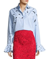 Valentino Long Sleeve Embroidered Poplin Blouse Blue