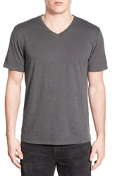 Men's The Rail Slub Cotton V Neck T Shirt Grey Magnet