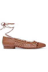 Michael Kors Collection Kallie Woven Leather Point Toe Flats Tan