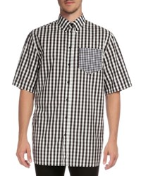 Givenchy Gingham Short Sleeve Sport Shirt With Pocket Black