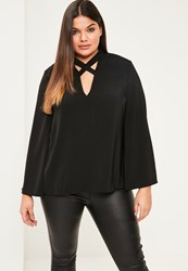 Missguided Plus Size Black Cross Neck Detail Blouse