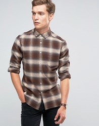 Asos Long Sleeve Skinny Fit Shadow Checked Shirt Camel Brown