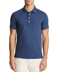 Billy Reid Patterson Stripe Slim Fit Polo Shirt Lake Blue