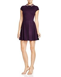 Aqua Jewel Ponte Dress Plum W Pink Jewels