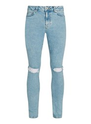Topman Light Wash Ripped Spray On Skinny Jeans Light Blue