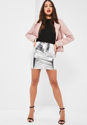 Missguided Petite Exclusive Silver Metallic Faux Leather Mini Skirt