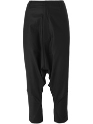 Y 3 Drop Crotch Cropped Trousers Black