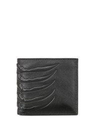 Alexander Mcqueen Classic Rib Cage Leather Billfold Wallet Black