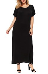 Evans Plus Size Pleat Neck Knit Maxi Dress Black