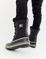 Sorel Pac Nylon Snow Boots In Black