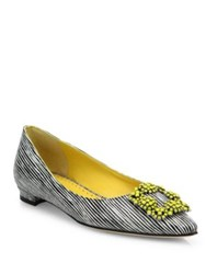 Manolo Blahnik Hangisi Striped Leather Flats Black
