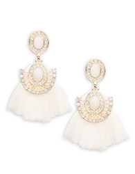 Catherine Stein Fringe Chandelier Earrings Pink Combo