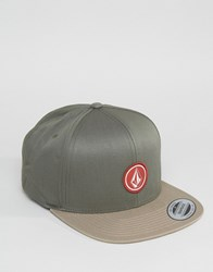 Volcom Quarter Twill Snapback In Military Camo Green Green