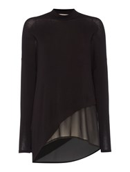 Label Lab Asymmetric Knit And Chiffon Mix Top Black