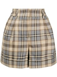 Alberta Ferretti High Waisted Checked Shorts Nude And Neutrals