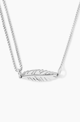Alex And Ani 'Providence' Pull Chain Feather Pendant Necklace Silver
