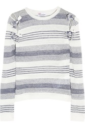 Red Valentino Striped Linen Top Blue