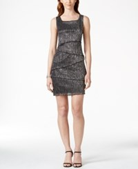 Connected Sleeveless Tiered Sheath Dress Black Silver