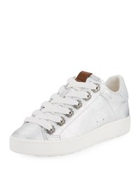 Coach C101 Metallic Leather Low Top Sneakers Silver