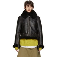 Acne Studios Black Shearling Cropped New Velocite Jacket