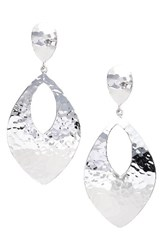 Argentovivo Women's Argento Vivo Hammered Drop Earrings Silver