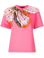 Manish Arora Sequin Flower T Shirt Pink