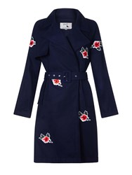 Yumi Trench Coat With Embroidered Flowers Dark Blue