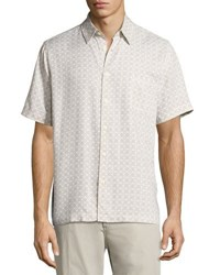 Neiman Marcus Cross Print Short Sleeve Shirt Off White