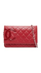 Wgaca Chanel Cambon Bag Previously Owned Red